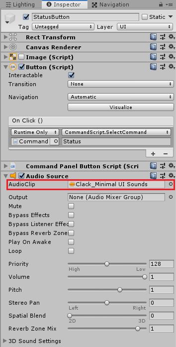 ユニティちゃんRPGのStatusButtonにAudio Sourceコンポーネントを取り付ける