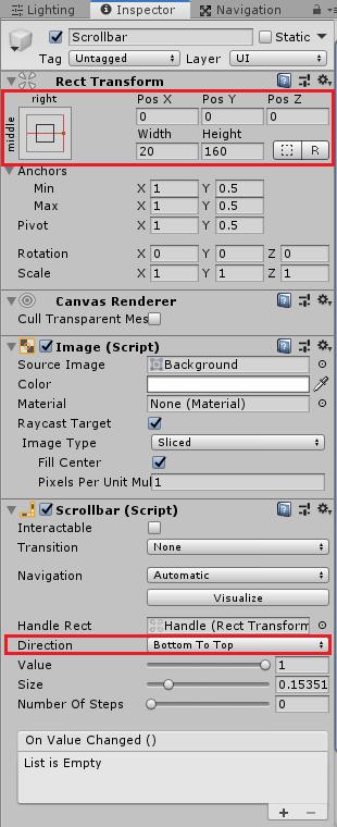 ユニティちゃんRPGのアイテムパネルのスクロールバーの設定