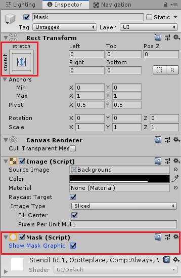 ユニティちゃんRPGのItemPanel子要素のMaskの設定