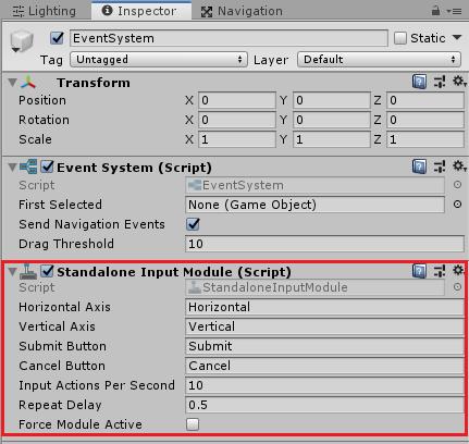 ユニティちゃんRPGのEventSystemのStandalone Input Moduleの設定