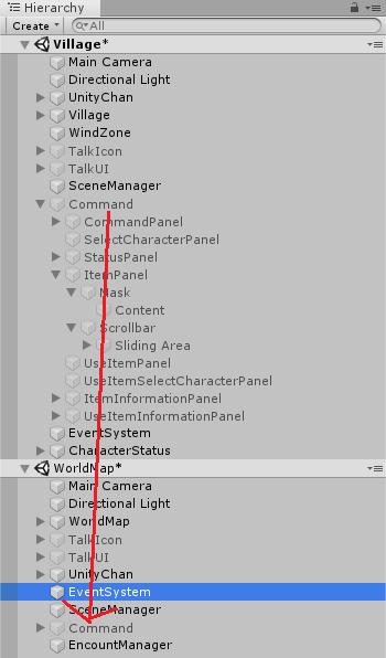 ユニティちゃんRPGのCommandをWorldMapシーンにも配置する