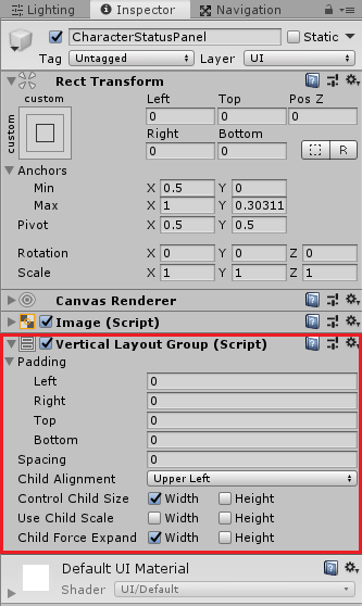 CharacterStatusPanelにVeritical Layout Groupを取り付ける