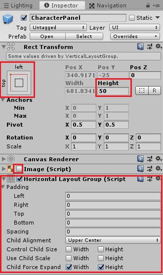 ユニティちゃんRPGのCharacterPanelの設定