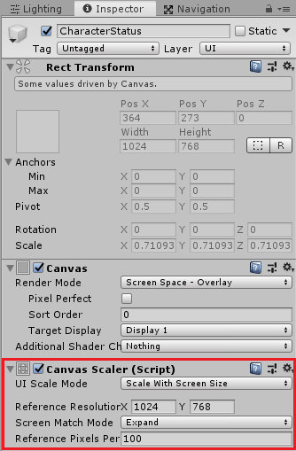 ユニティちゃんRPGのCharacterStatusのCanvas Scaleの設定を変更する