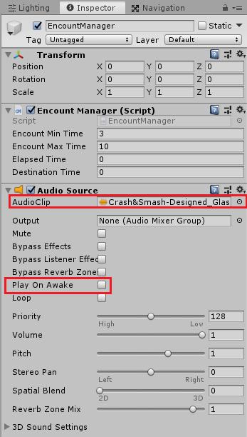 ユニティちゃんRPGの戦闘シーンへのフェード時の効果音の設定