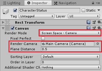 ユニティちゃんRPGのCharacterStatusキャンバスのRenderModeをScreen Space -Cameraに変更してみる