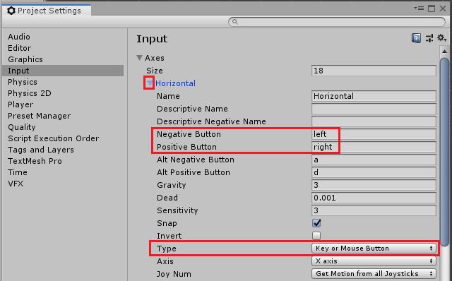 ユニティちゃんRPGのキーボードとマウスのHorizontalの設定