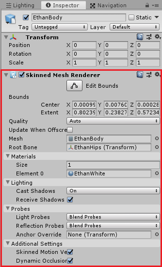 Ethan子要素のSkinned MeshRendererコンポーネント