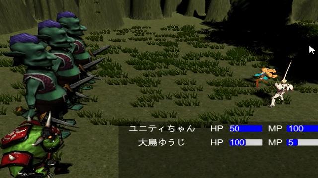 アイキャッチユニティちゃんのRPGで戦闘シーンに味方キャラクターのHPとMPを表示する