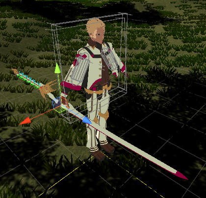 ユニティちゃんRPGの戦闘用の大鳥ゆうじのプレハブの武器の位置を変更する