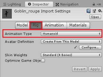 ユニティちゃんRPGで使用するアニメーションタイプはHumanoidにしておく