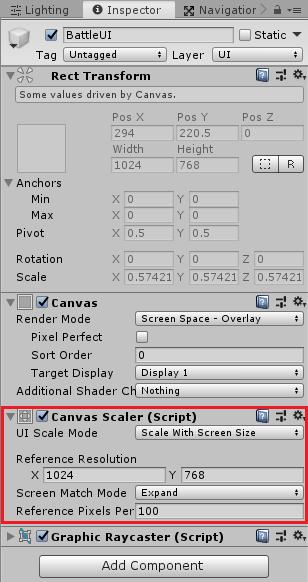 ユニティちゃんRPGのBattleUIのCanvas Scaler