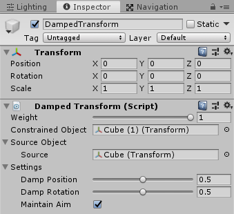UnityのAnimationRiggingのDamped Transformのインスペクタ