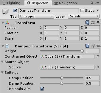 UnityのAnimationRiggingのDamped Transformのインスペクタ