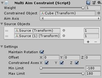 UnityのAnimationRiggingのMultiAimConstraintの設定