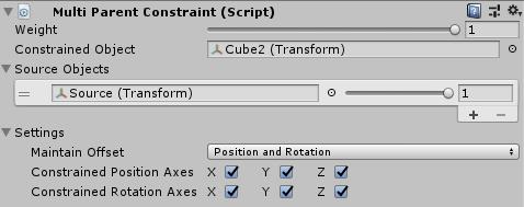 UnityのAnimationRiggingのMultiParentConstraintの設定
