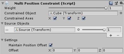 UnityのAnimationRiggingのMultiPositionConstraint