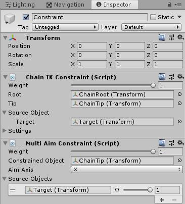 UnityのAnimationRiggingの鎖のサンプルのConstraintのインスペクタの設定