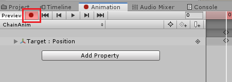 UnityのAnimationRiggingの鎖のサンプルのアニメーション作成の為Animationの録画ボタンを押す