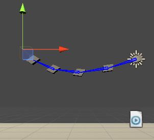 UnityのAnimationRiggingの鎖のサンプルのTargetの0:20の位置