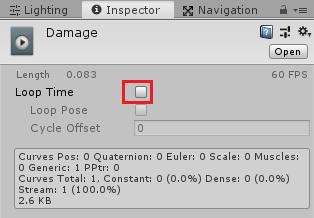 ダメージテキストアニメーションクリップのLoopのチェックを外す