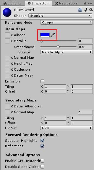 ユニティちゃんRPGのBlueSwordオブジェクト用のマテリアル設定