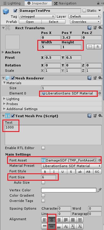 ユニティちゃんRPGのDamageTextProの設定