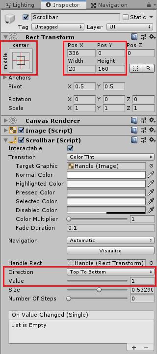 ユニティちゃんRPGのResultPanel子要素のScrollbarのインスペクタ