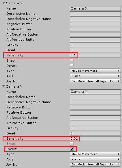 ユニティちゃんのRPGのマウスでのカメラ操作のInputManagerの設定