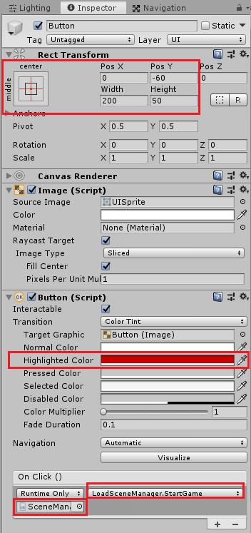 ユニティちゃんのRPGのタイトルシーンのはじめからボタンを押した時に実行するメソッドの設定