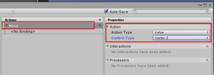 UnityのInputSystemのMoveのProperties設定