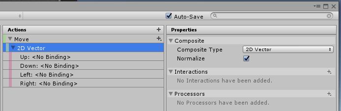 UnityのInputSystemでアクションに2D Vector Compositeを作成した結果