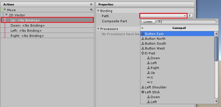 UnityのInputSystemの2D VectorのUpの設定