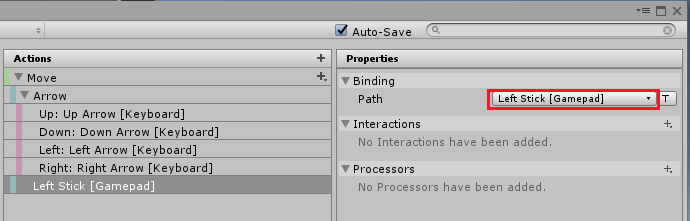 UnityのInputSystemのMoveにゲームパッドの左スティックをバインドする