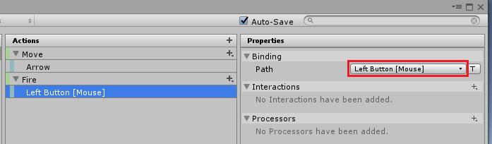 UnityのInputSystemのFireアクションのマウスの左ボタンの設定
