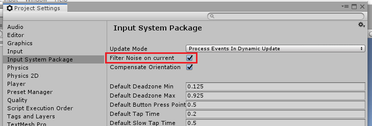 UnityのInputSystemPackageのFilter Noise on currentにチェックを入れる