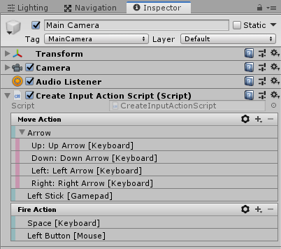 UnityのInputSystemのアクション設定ファイルを作らずインスペクタで設定する方法