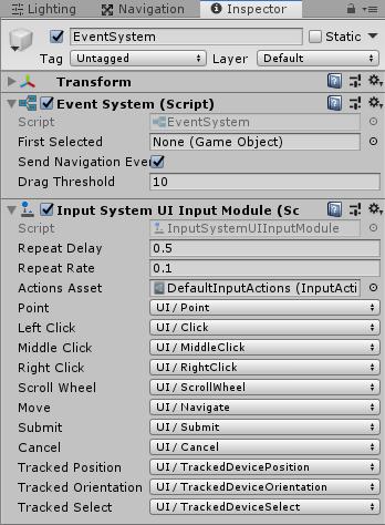 UnityのEventSystemのStandaloneInputModuleをInputSystemUIInputModuleに変更する