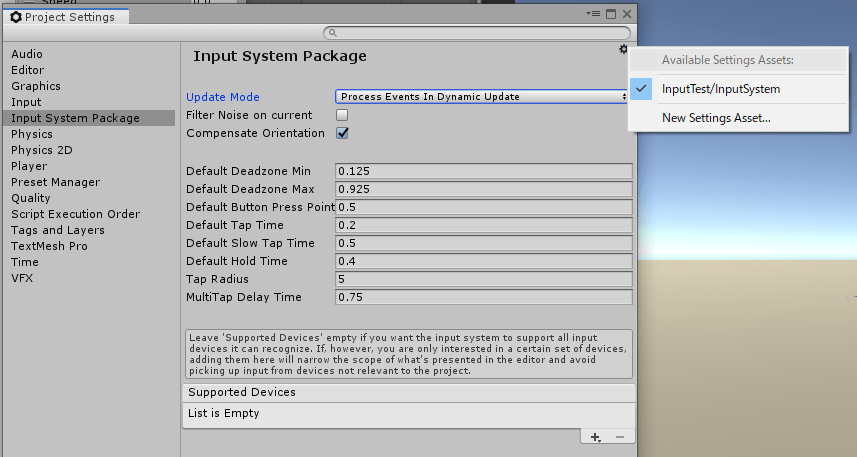UnityのInputSystemPackageの設定