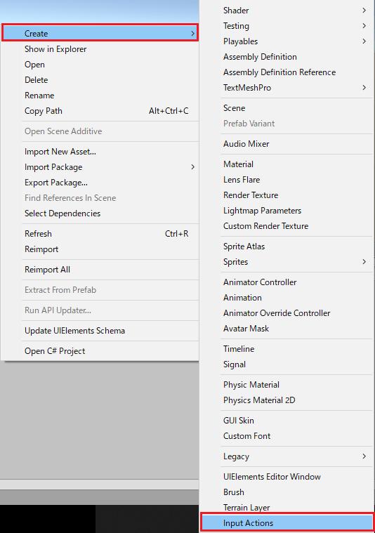 UnityのInputSystemの空のアクションファイルの作成