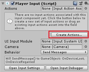 UnityのInputSystemのアクションファイルをPlayer Inputコンポーネントから作成