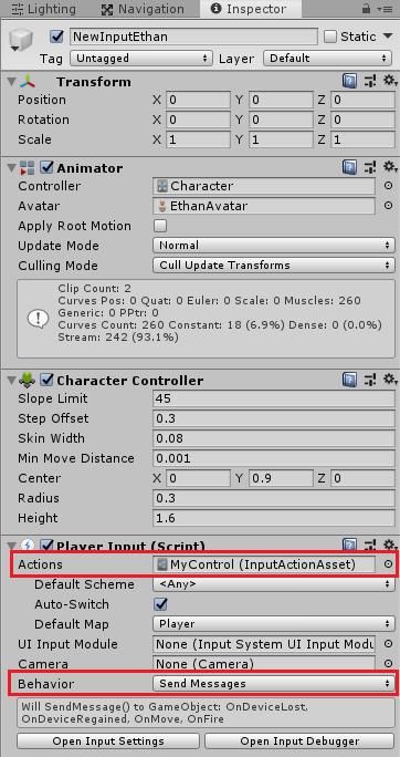 UnityのInputSystemで動かすキャラクターのインスペクタ