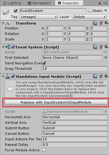 UnityのEventSystemのStandalone Input ModuleをInputSystem用に変換する