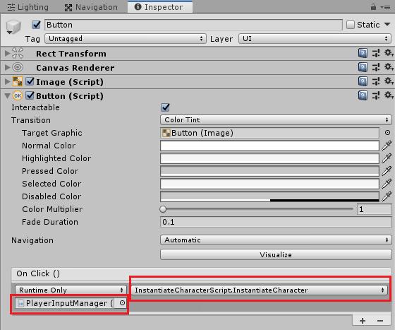 ボタンを押した時にInstantiateCharacterメソッドを実行させる