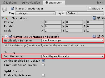 ボタンを押した時にキャラクターを生成しデバイスを決定するPlayerInputManagerの設定