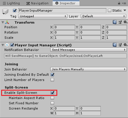 InputSystemのPlayerInputManagerのEnable Split-Screenにチェックを入れる
