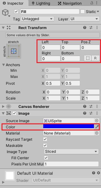 ユニティちゃんRPGのステータス表示のHPとMPのスライダーの色を青色にする