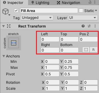 ユニティちゃんRPGのステータス画面のHPSlider子要素のFill Areaのインスペクタ