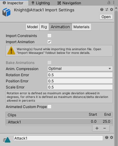 ユニティちゃんRPGで使用するナイトのアニメーションの設定