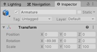 Blenderの初期設定でキャラクターを出力するとUnityのTransformがおかしくなる